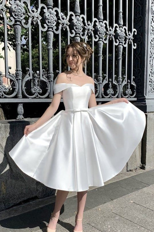 off-the-shoulder-corset-short-satin-wedding-dresses-with-bow-sash