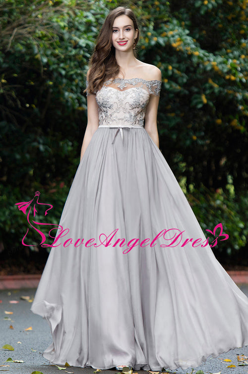 off-the-shoulder-lace-and-chiffon-gray-prom-dresses
