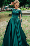 Off-the-shoulder Lace Long Sleeves Evening Dress Green Satin Skirt