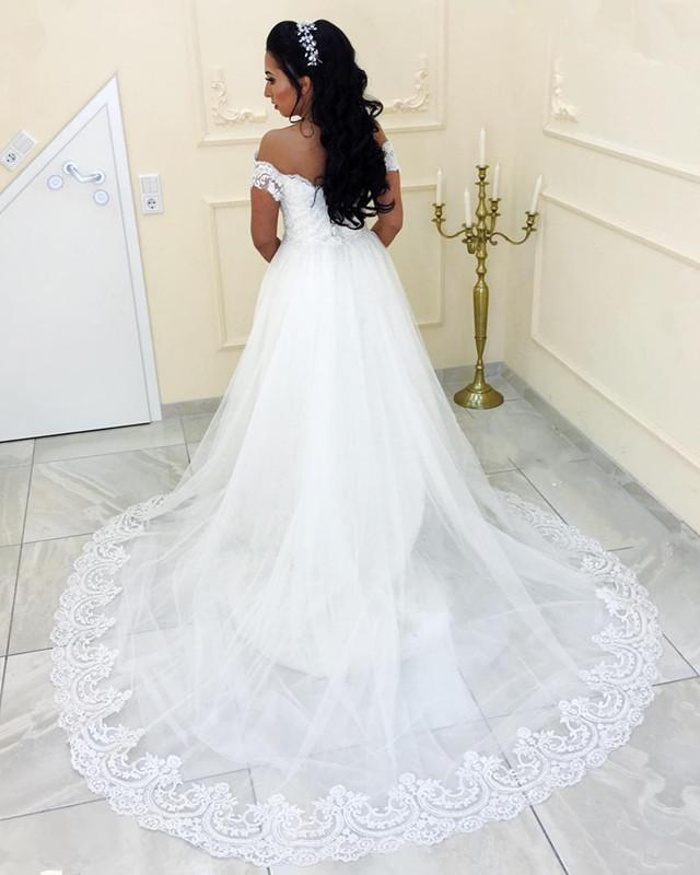 off-the-shoulder-lace-sheath-wedding-gown-with-tulle-train-1