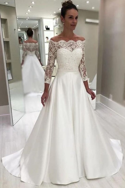 off-the-shoulder-lace-sleeve-wedding-gown-with-satin-skirt
