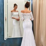 off-the-shoulder-lace-white-wedding-dress-with-sleeves-1