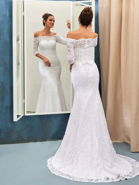 off-the-shoulder-lace-white-wedding-dress-with-sleeves-2
