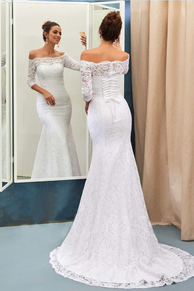 off-the-shoulder-lace-white-wedding-dress-with-sleeves