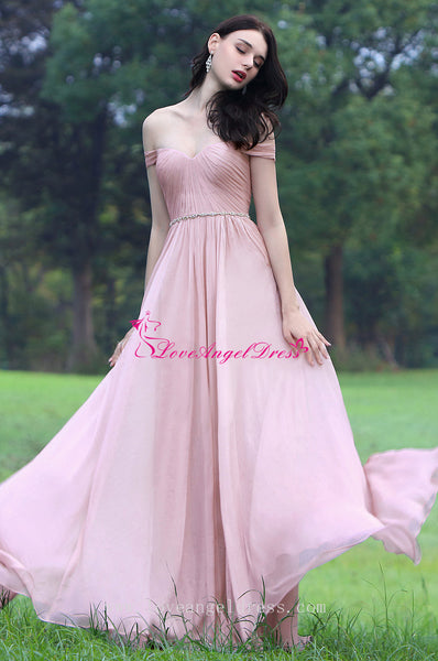 off-the-shoulder-pink-chiffon-long-prom-dresses-with-rhinestones-sash