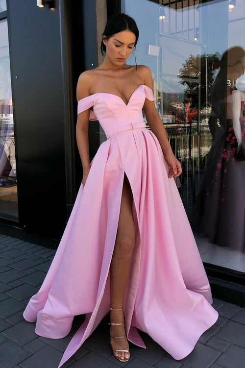 off-the-shoulder-pink-satin-long-prom-gown-with-high-thigh-slit