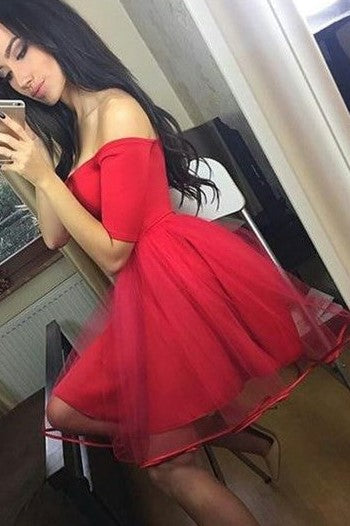 off-the-shoulder-red-graduation-dresses-with-ribbon-tulle-skirt-1