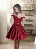 off-the-shoulder-satin-burgundy-cocktail-party-dress-with-beaded-belt