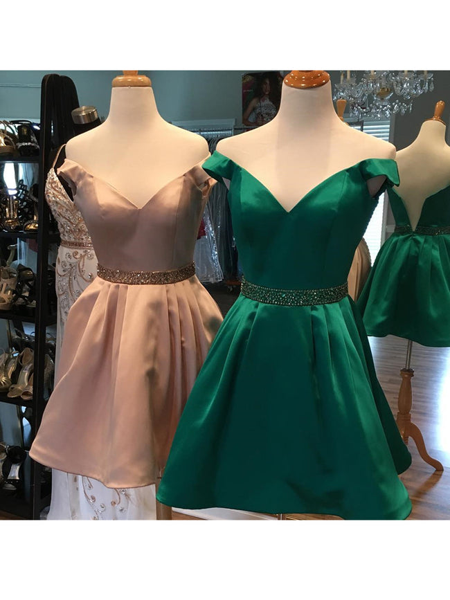 off-the-shoulder-satin-cocktail-party-dress-with-beaded-belt