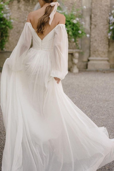 off-the-shoulder-sleeve-chiffon-wedding-gown-2021-summer-1