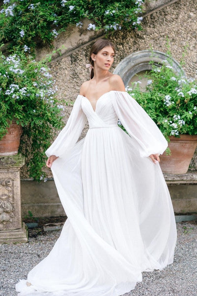 off-the-shoulder-sleeve-chiffon-wedding-gown-2021-summer