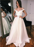 off-the-shoulder-sweetheart-a-line-satin-wedding-gown-with-beaded-belt-1