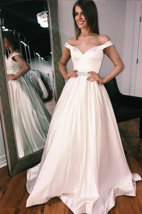 Off-the-shoulder Sweetheart A-line Satin Wedding Gown with Beaded ...