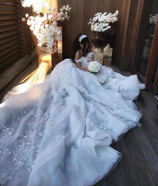 off-the-shoulder-white-princess-flower-wedding-dresses-with-long-train-1