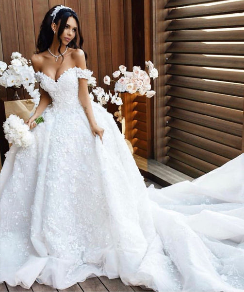 off-the-shoulder-white-princess-flower-wedding-dresses-with-long-train-2