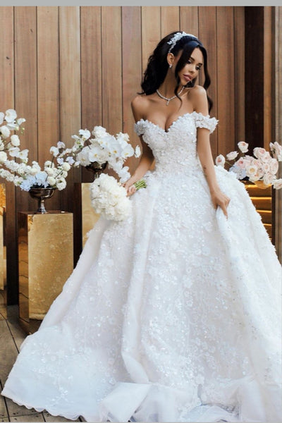 off-the-shoulder-white-princess-flower-wedding-dresses-with-long-train