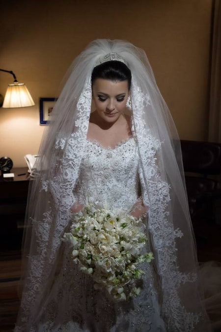 Cathedral Veil with Alencon Lace Edge Long Mantilla Veils