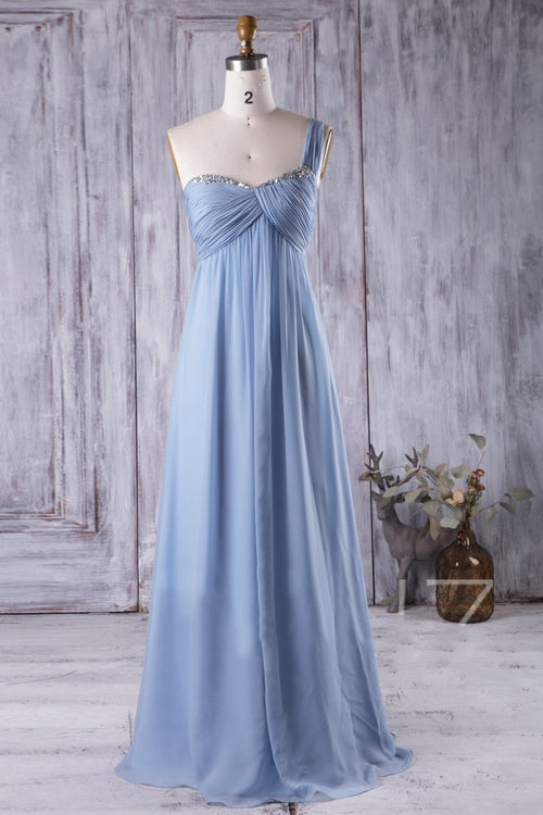 one-shoulder-chiffon-long-bridesmaid-dress-for-pregnant-woman