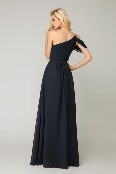 one-shoulder-dark-navy-bridesmaid-dress-chiffon-skirt-1