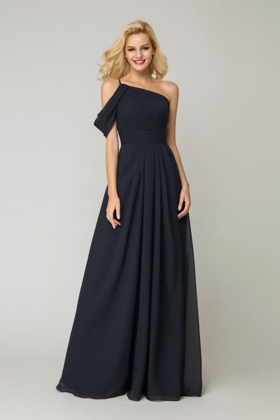 one-shoulder-dark-navy-bridesmaid-dress-chiffon-skirt-2