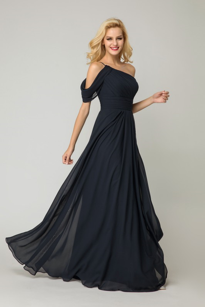 one-shoulder-dark-navy-bridesmaid-dress-chiffon-skirt
