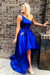 one-shoulder-royal-blue-prom-dress-satin-high-low-skirt