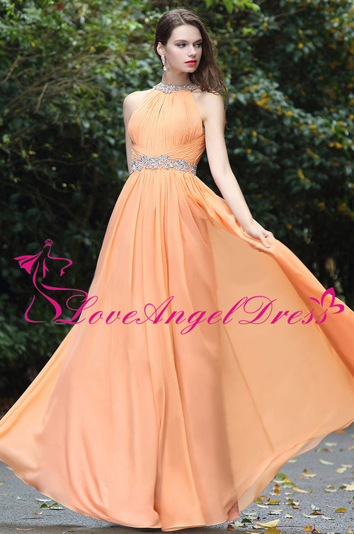 orange-chiffon-floor-length-rhinestones-prom-dresses-with-hollow-back