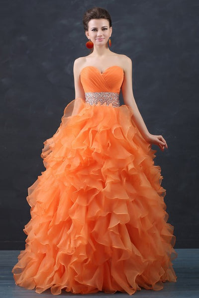 orange-organza-debutante-ball-gown-with-ruffles-skirt