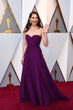 Ashley Judd Purple Chiffon Celebrity Dresses in Oscar 2018