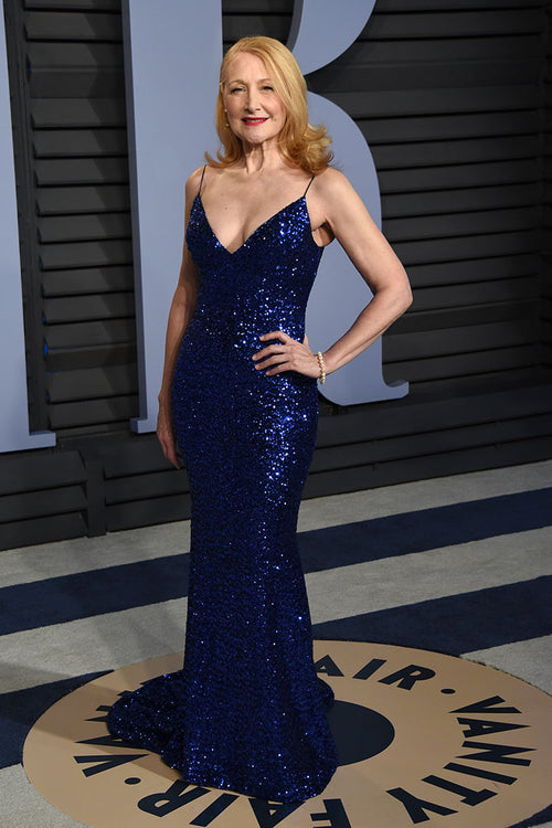 patricia-clarkson-royal-blue-sequins-celebrity-prom-dresses-with-spaghetti-straps