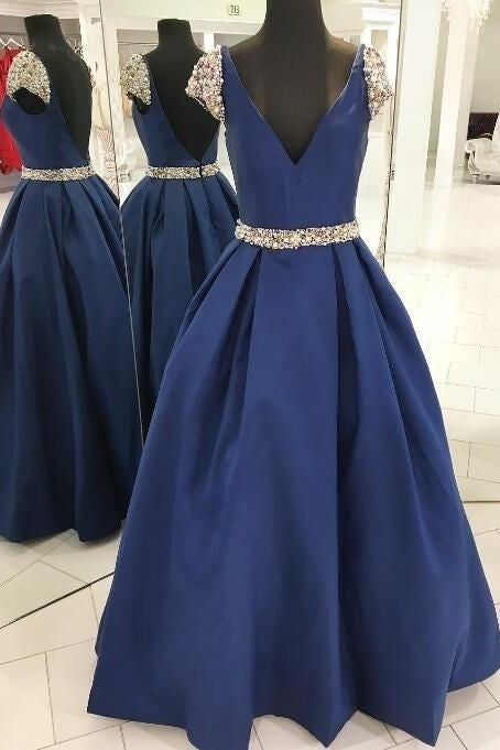 pearls-beaded-blue-prom-dresses-with-cap-sleeves