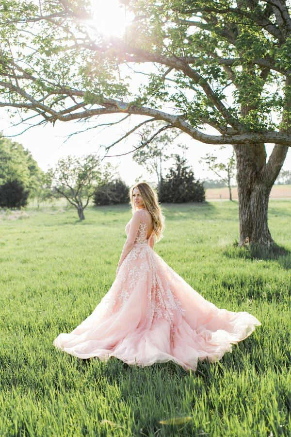 pearls-lace-blush-wedding-dresses-with-plunging-v-neck-1