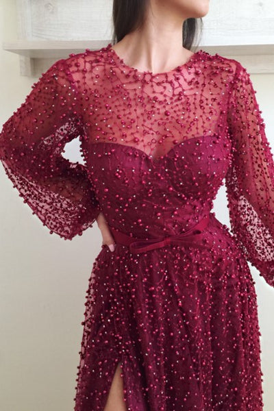 pearls-sheer-neckline-evening-dresses-with-loose-sleeves-1