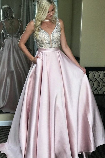 pink-satin-prom-dresses-with-rhinestones-bodice