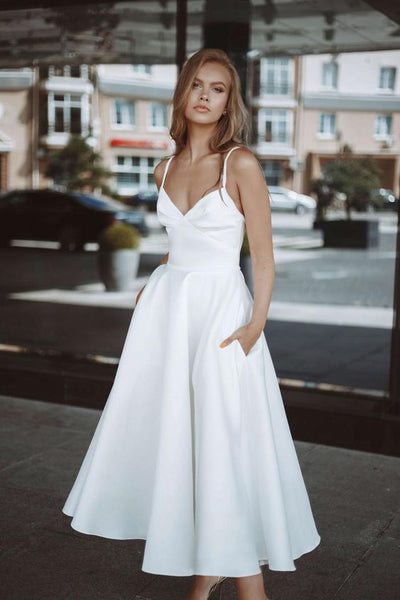 Plain Satin Midi-length Bride Dresses with Pockets