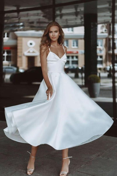 plain-satin-midi-length-bride-dresses-with-pockets