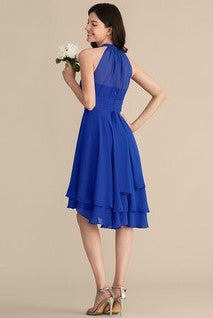 pleated-chiffon-halter-royal-blue-wedding-party-dress-short-1
