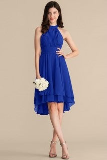 pleated-chiffon-halter-royal-blue-wedding-party-dress-short-2