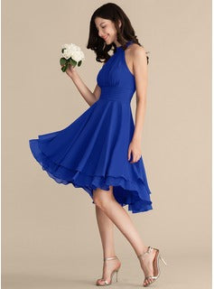 pleated-chiffon-halter-royal-blue-wedding-party-dress-short-3