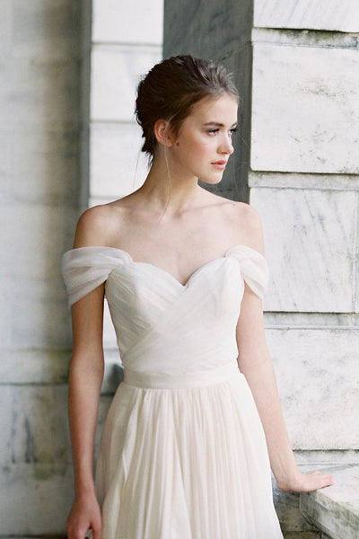 pleated-off-the-shoulder-ivory-wedding-dress-with-chiffon-skirt-1