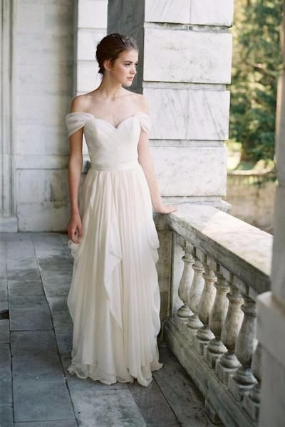 pleated-off-the-shoulder-ivory-wedding-dress-with-chiffon-skirt-2