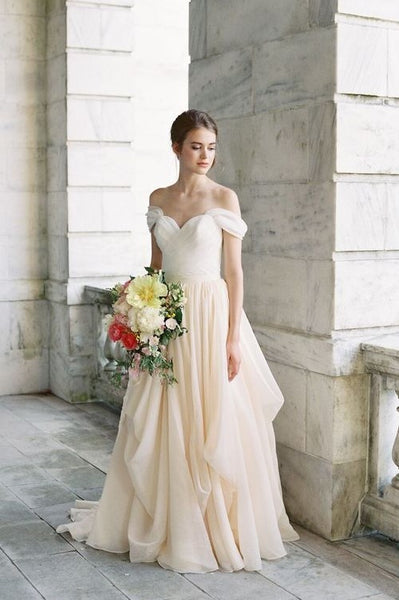 pleated-off-the-shoulder-ivory-wedding-dress-with-chiffon-skirt-3