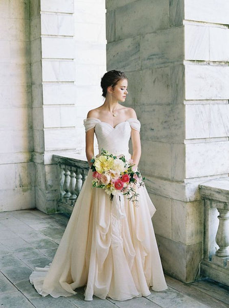 pleated-off-the-shoulder-ivory-wedding-dress-with-chiffon-skirt