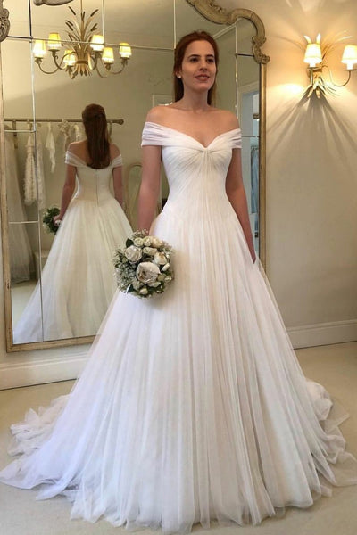 Pleated Off-the-shoulder Ivory Wedding Gowns Tulle Skirt