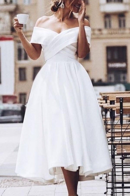 pleated-off-the-shoulder-white-prom-dress-tea-length