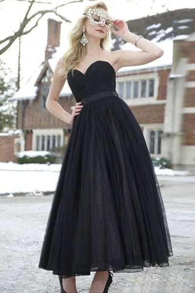 pleated-sweetheart-ankle-length-prom-dresses-with-ribbon-belt