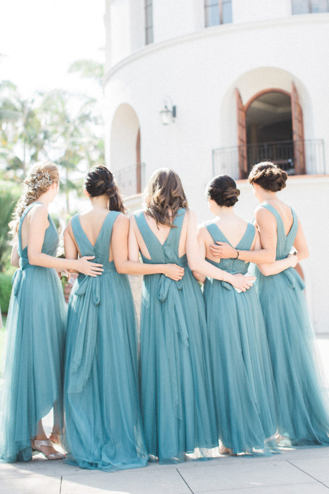 pleated-teal-hi-lo-bridesmaid-dresses-with-tulle-skirt-1
