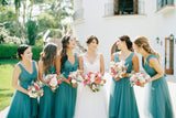 pleated-teal-hi-lo-bridesmaid-dresses-with-tulle-skirt-4