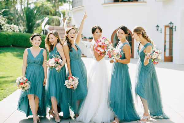 pleated-teal-hi-lo-bridesmaid-dresses-with-tulle-skirt-5