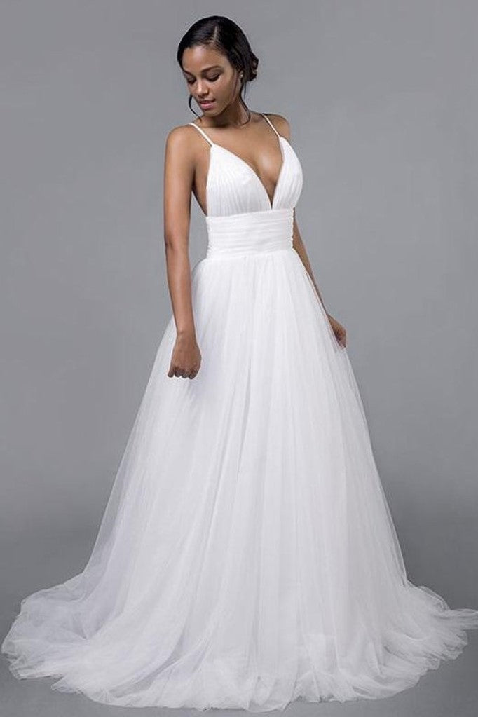 b4d978a619 Pleated Tulle Wedding Bridal Dresses with Spaghetti Straps ...